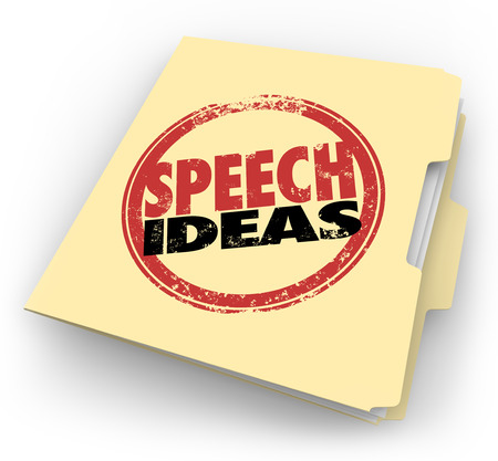 panelist: Speech Ideas words in a red round stamp on a manila folder to illustrate tips, advice, suggestions and other information to help you in your public speaking engagement Stock Photo