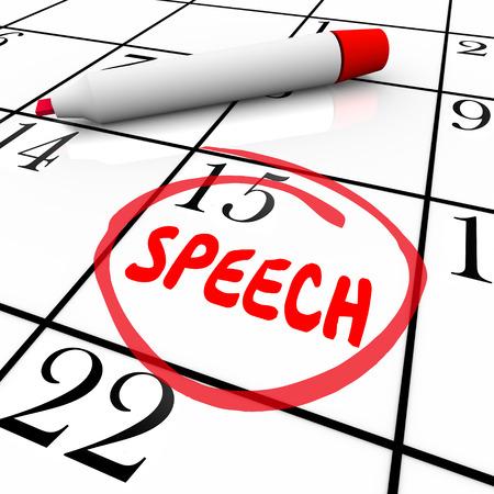 Rede Datum oder Tag kreiste auf einem Kalender, um eine Erinnerung an einen wichtigen Vortrag halten zu veranschaulichen Standard-Bild