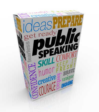 public speaking: Public Speaking words on a box for training to give a big speech, including ideas, get ready, prepare, skill, humor, confidence, courage and more Stock Photo