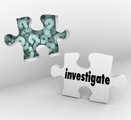 pry: Investigate word on a puzzle piece and wall with hole and question marks behind it to symbolize a need for finding answers