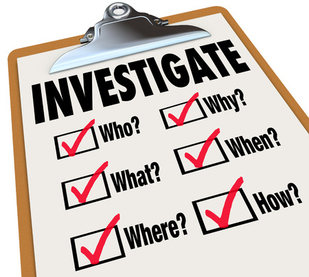 investigate: Investigate word on a checklist asking questions who, what, where, when, why and how as basic facts in an investigation
