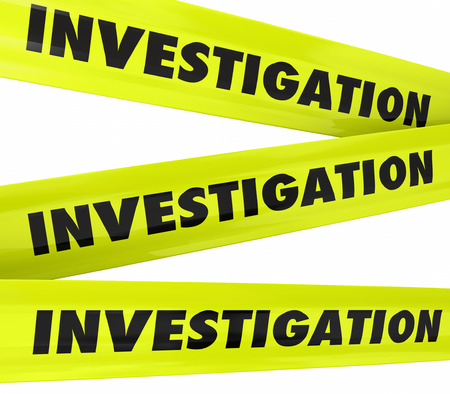 probing: Investigation word on yellow police crime scene tape to secure an area where detective work is taking place Stock Photo