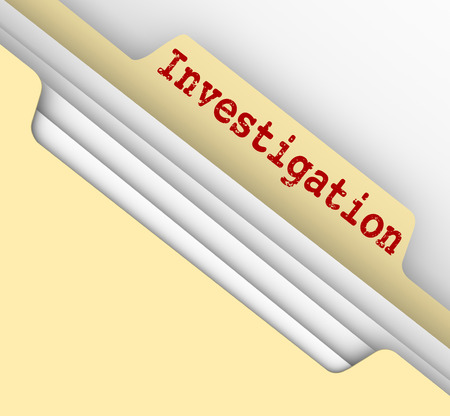findings: Investigation word typed on a manila file folder tab to store your findings, facts and research from investigating a case or project