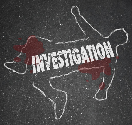 probing: Investigation word in a chalk outline of a dead body or murder victim in a crime scene worked on by police officers