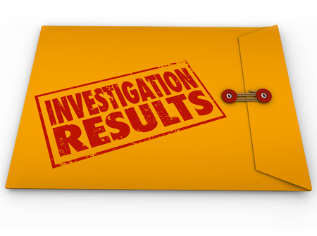 pry: Investigation Results words stamped on a yellow envelope containing the report from research and findings of facts Stock Photo