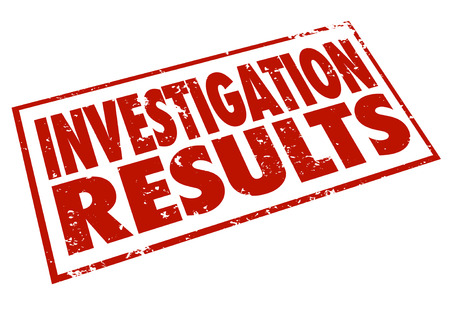 probing: Investigation Results words stamped in red letters to illustrate the facts and findings from detective and research work