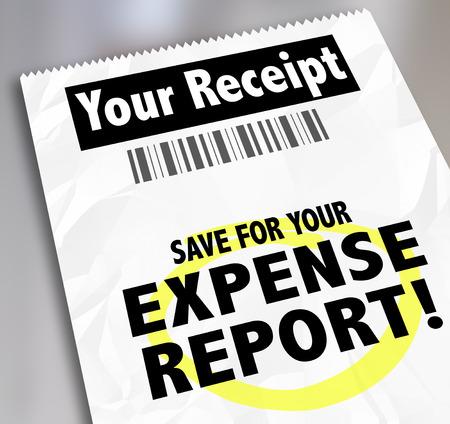 Uw Ontvangst woorden en opslaan voor Expense Report on papieren document voor het indienen voor vergoeding Stockfoto