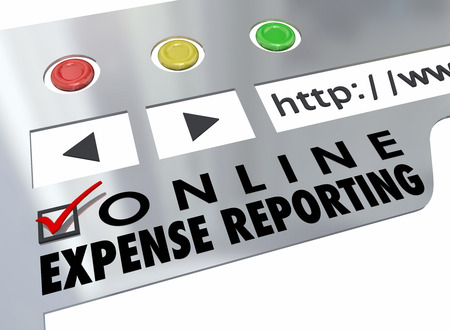 justified: Online Expense Reporting words on a website browser for entering receipts for payment reimbursement