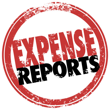 justified: Expense Report words in red stamp to illustrate a reimbursement payment for costs incurred in business for travel, meals and other receipts