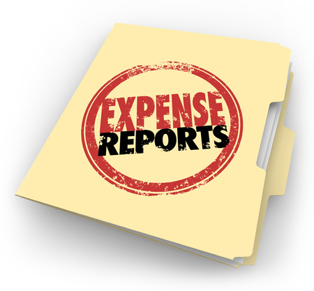 reimbursement: Expense Report words stamped on a manila folder collecting a file of receipts and other documents for payment reimbursement