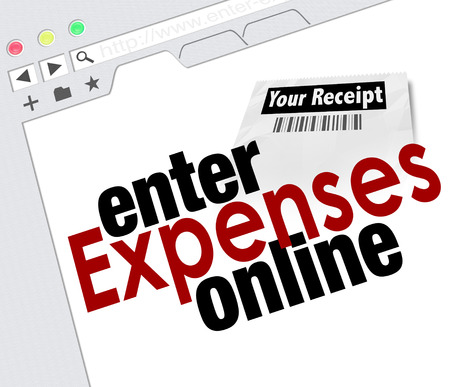Website screen with words Enter Expenses Online for adding receipts and submitting for payment reimbursement photo