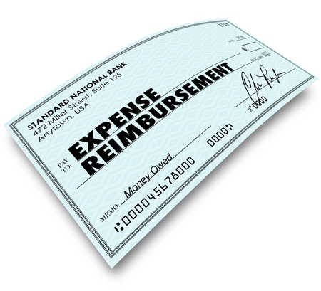 reimbursement: Expense Report words on paper check as reimbursement payment for your travel, meals and work related costs