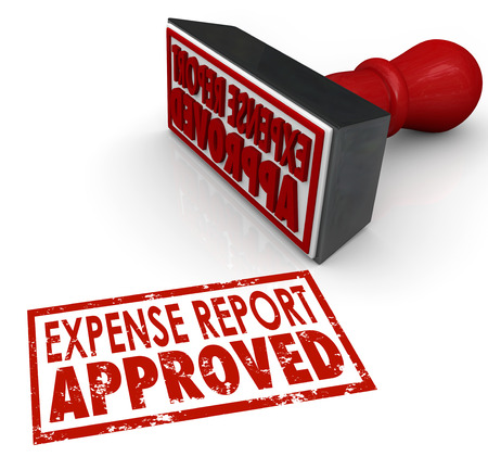 reimbursement: Expense Report Approved words in a red stamp approving your costs and receipts for reimbursement