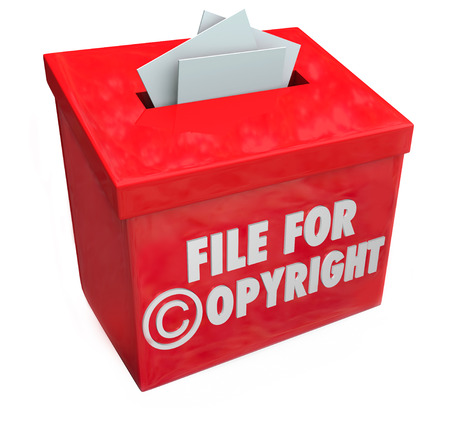 submitting: File for Copyright protection 3d words on a box for submitting paperwork and documents for intellectual property protection