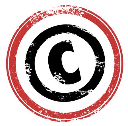 property rights: Copyright C letter symbol in a red round stamp illustrating that your product, service or intellectual property is protected by law