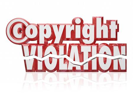 protecting your business: Derechos de autor Violaci�n de letras y palabras rojas 3d para ilustrar el robo de propiedad intelectual y la infracci�n de los derechos legales de la pirater�a