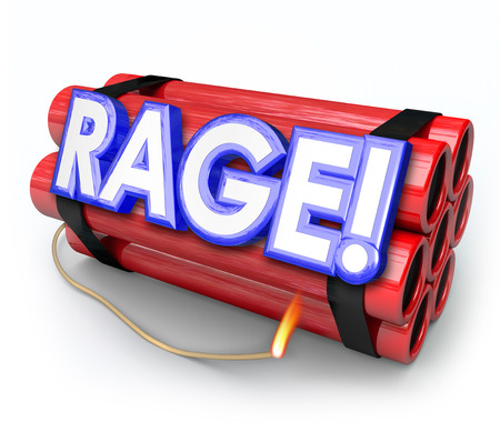 pent: Rage word in 3d letters on a red dynamite bomb about to blow up from pent up anger, frustration, fury and mad explosive feelings Stock Photo
