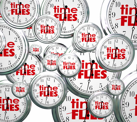 time flies: Time Flies words on 3d clocks flying by to symbolize the speed of hours, days, weeks, months and years passing too quickly