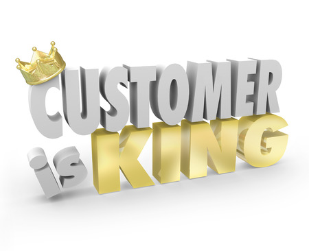 spokojený: Zákazník je král v 3d slovech a zlatou korunou na ilustraci klientský servis a podporu, je nejvyšší prioritou společnosti nebo podniku