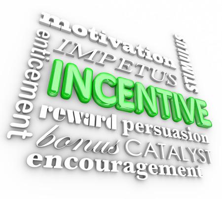 Incentive woord in 3d letters motivatie, impuls, verleiding, beloning, overtuigingskracht, bonus, katalysator en aanmoediging