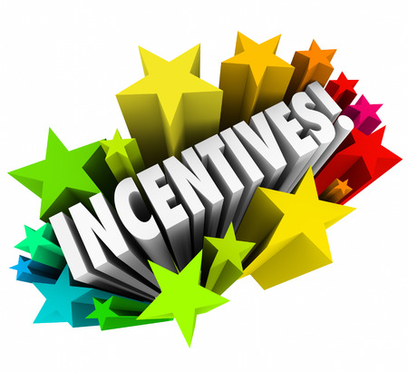 Incentives word in 3d letters within colorful stars or fireworks advertising a special promotion of rewards or enticement to buy or sell more Archivio Fotografico