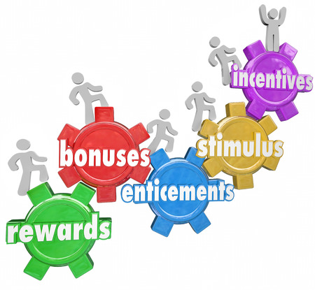 enticing: Incentives and related words like rewards, bonuses, stimulus and entincements on gears with several people, customers or workers climbing up