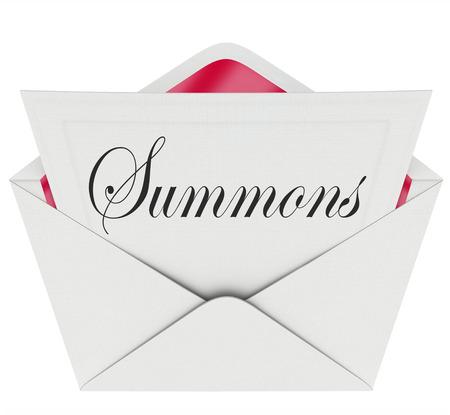 dagvaarding: Dagvaarding woord op een briefje in een envelop die je voor de rechter verschijnen voor een rechter om een zaak of rechtszaak Stockfoto