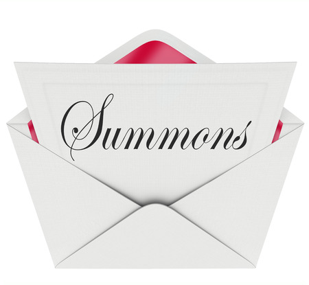 summoning: Summons word on a note in an envelope requiring you to appear in court before a judge for a case or lawsuit
