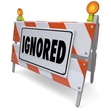 3 d 道路工事標識、障壁やバリケード敬遠さ、何かを説明するために無視される単語を無視または回避