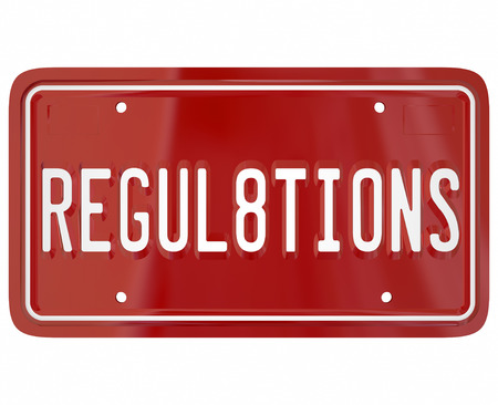 ordinance: Regulations word on a red metal license plate for car or automobile illustrating the important rules and laws for safety testing a vehicle must undergo