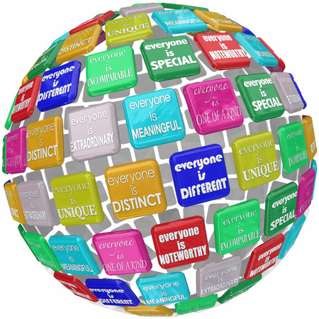good better best: Everyone is unique, extraordinary, distinct, special, incomprable, different and one of a kind words on titles in a 3d globe or sphere
