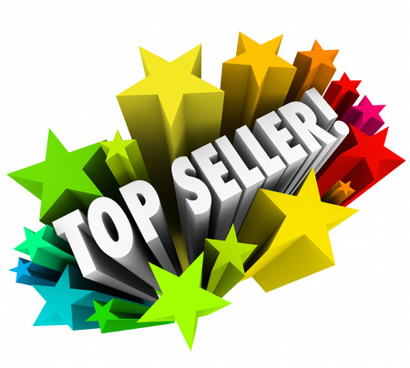 seller: Top Seller 3d words in colorful stars as the best salesperson in a company or organization closing the most sales