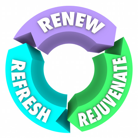 rejuvenate: Renew, Refresh and Rejuvenate words on three arrows in a circle to illustrate improved health and well-being from therapy, spa or other regimen