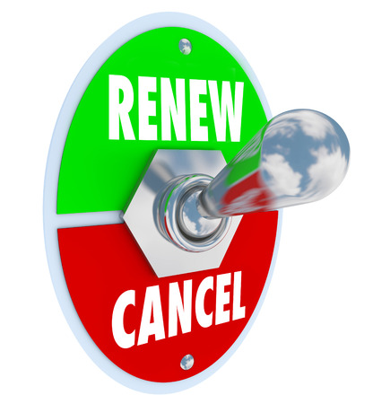 Renew Vs Cancel words on a toggle switch offering the choice for renewal or cancellation of a product or service 스톡 콘텐츠