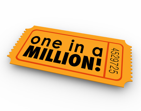 noteworthy: One in a Million words on an orange raffle or lottery ticket illustrating your unique position or remote odds at winning