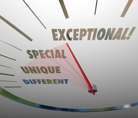 exceptional: Exceptional speedometer measuring your competitive edge or level of special, unique and different ability or skill