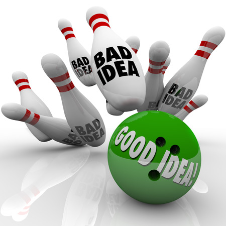 bad planning: Good Idea, strategy or plan beats bad illustrated by a green bowling ball striking pins and winning the game, job, career, business or competition Stock Photo
