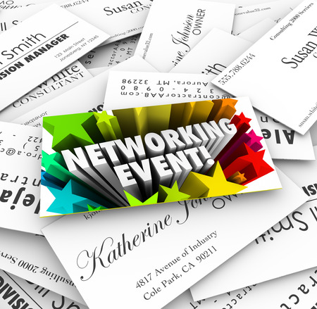 Networking Event words on a business card on a stack of contacts collected at a mixer, meeting, seminar, conference or convention Foto de archivo