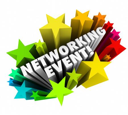 atender: Redes Evento en palabras 3d y estrellas de colores como invitaci�n para que usted asista a una conferencia, mesa de mezclas, seminario o convenci�n para conocer gente de negocios Foto de archivo