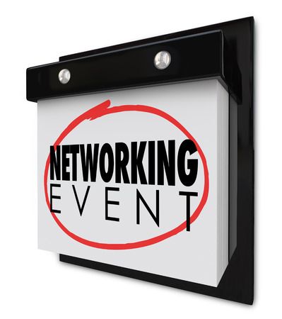 greet: Networking Event words on a wall calendar to remind you of the day or date for a business meeting, celebration, conference or seminar Stock Photo