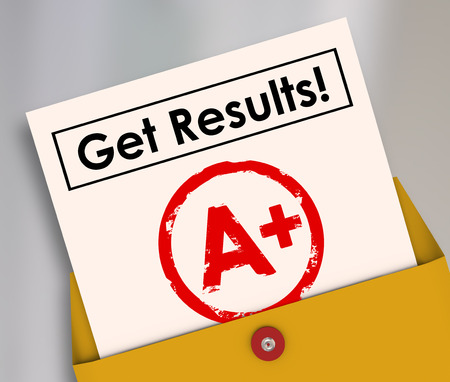Get Results and letter grade A+ on a report card as good positive outcome of studying, homework and determination to succeed photo