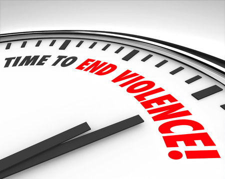 cease: Time to End Violence parole su un orologio come protesta di guerra o di negoziare il cessate il fuoco Archivio Fotografico