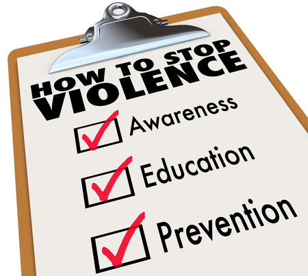 prevent: How to Stop Violence words on a check list including Awareness, Education and Prevention