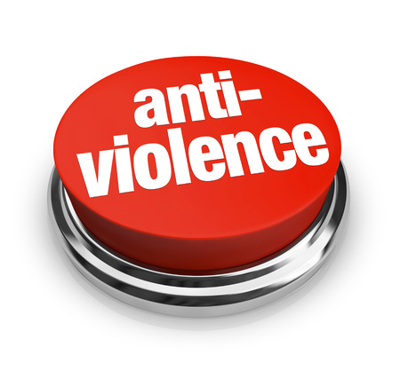 anti war: Anti Violence words on a red round button as a sign of protest to end fighting or war