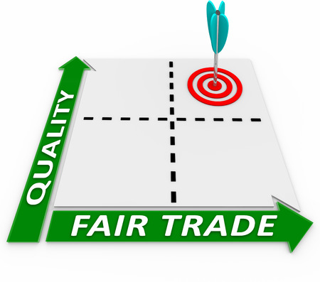 Fair Trade and Quality words on a matrix of business choices and an arrow in the best option for product excellence and responsibility to workers and the environment