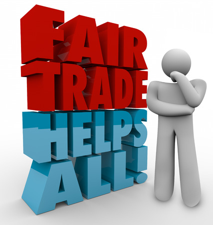 suppliers: Fair Trade Helps All words in 3d letters beside a thinking man planning a business strategy of sourcing products from suppliers who are responsible to workers and environment Stock Photo