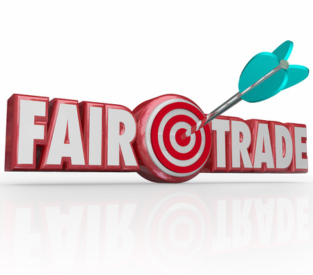 certify: Fair Trade words in red 3d letters and an arrow in the bulls-eye to illustrate supply chain planning that is responsible to the environment and workers rights