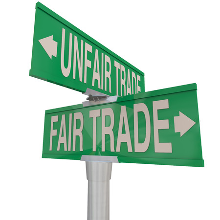way of living: Fair Vs Unfair Trade words on two way street signs pointing you to choose businesses who offer living wages and practice environmental responsibility Stock Photo