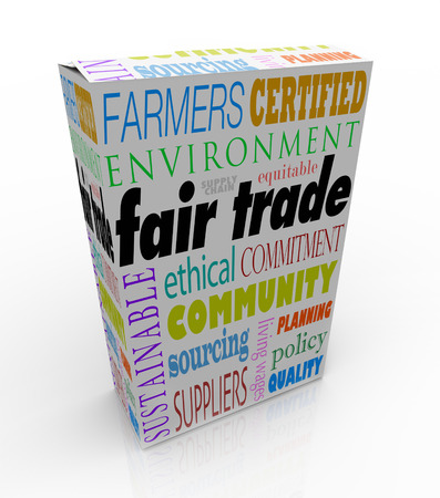 Fair Trade words on a product package or box advertising the business uses sustainable suppliers paying equitable wages and being responsible with the environment