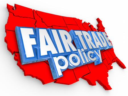 equitable: Fair Trade Policy words on a 3d map of the United States of America as support for equitable and sustainable practices in farming and supply chain